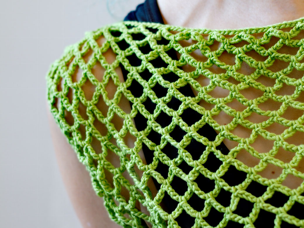 Zombie knitted vest & Crochet crop top of dreams - wide fishnet detail - Zebraspider Eco Anti-Fashion Blog