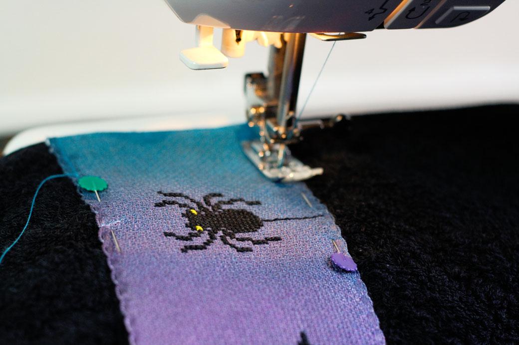 Halloween DIYs Part 2 - Sewing spooky Cross-stitch ribbon on Towel - Zebraspider Eco Anti-Fashion