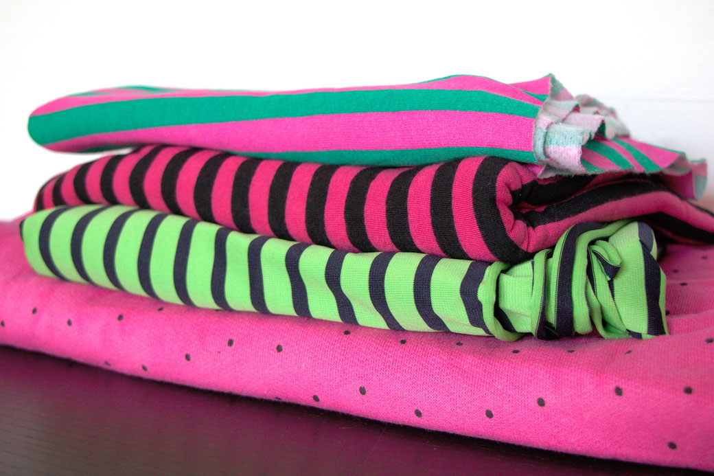 9 pros and cons about deadstock fabrics - pink and green stripes - Zebraspider Eco Anti-Fashion