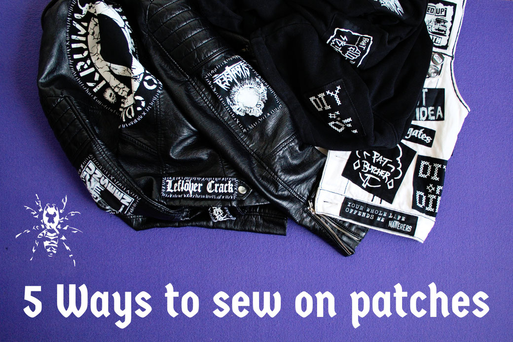 5 ways to sew on patches - Punk jacket, vest and hoodie - Zebraspider Eco Anti-Fashion Blog