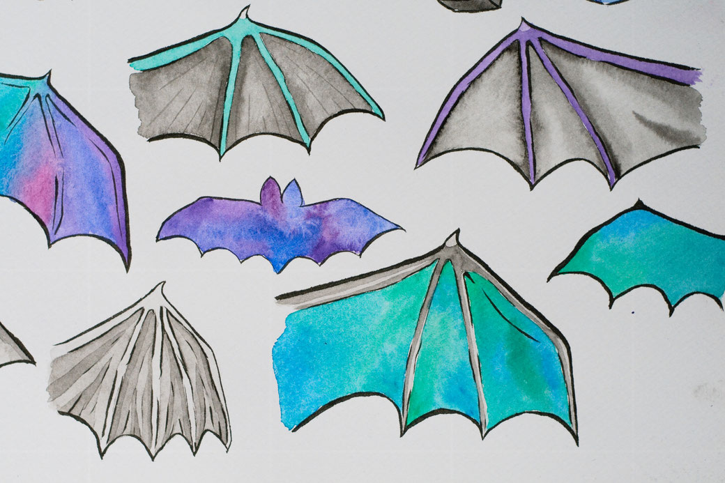 My 100-day project: Designing fabric patterns - batwing watercolour and ink studies - Zebraspider Eco Anti-Fashion Blog