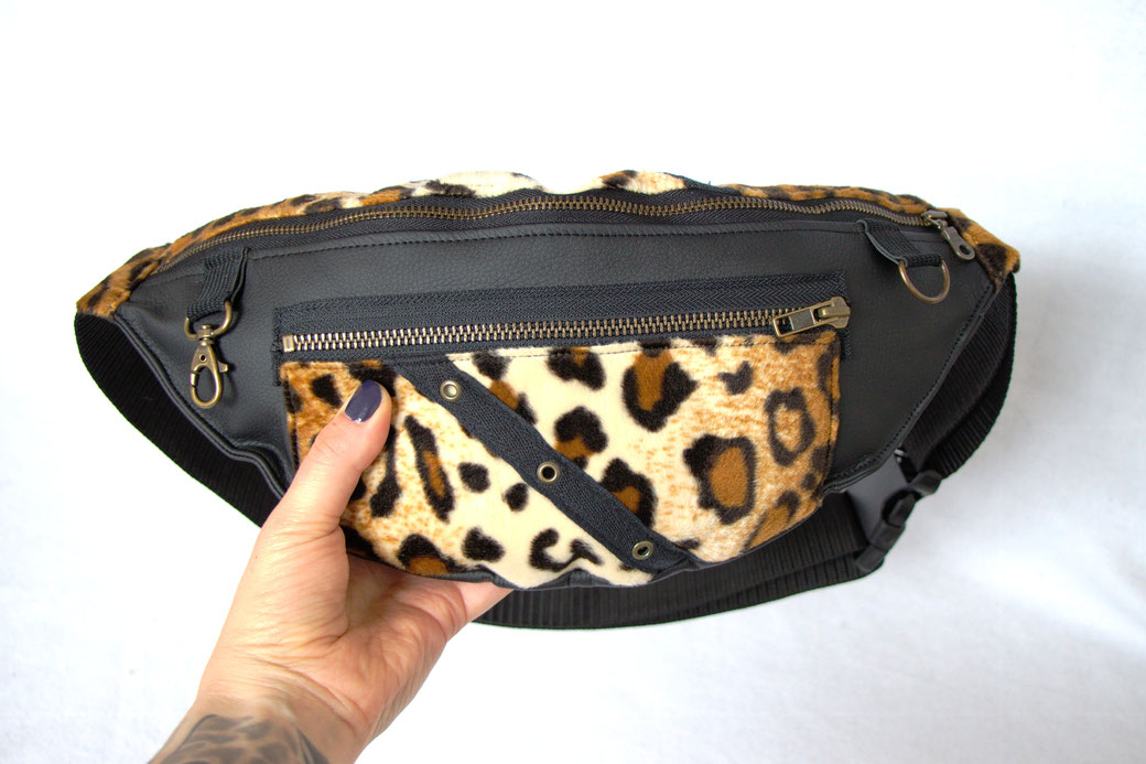 Custom belt bags and summer tops - large leopard + faux leather fanny pack - Zebraspider Eco Anti-Fashion