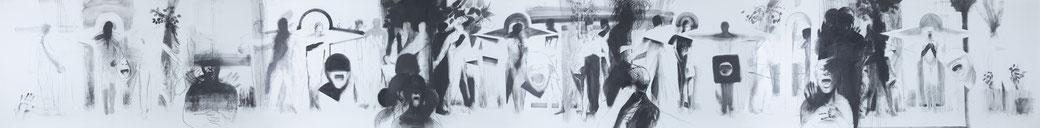 Michael Hedwig, Fries 01, 2016, Graphit auf Fabriano 250g, 101x876cm, Foto: Matt Observe