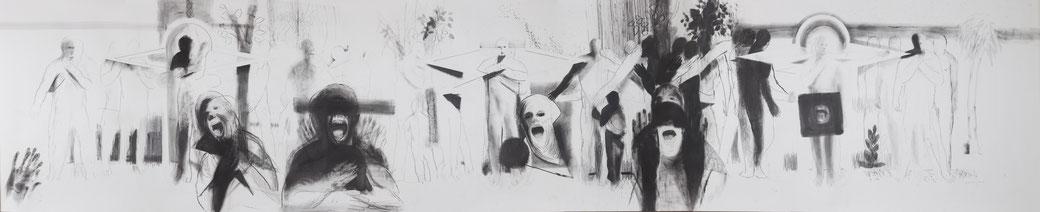 Michael Hedwig, Fries 02, 2016, Graphit auf Fabriano 250g, 90x450cm, Foto: Matt Observe