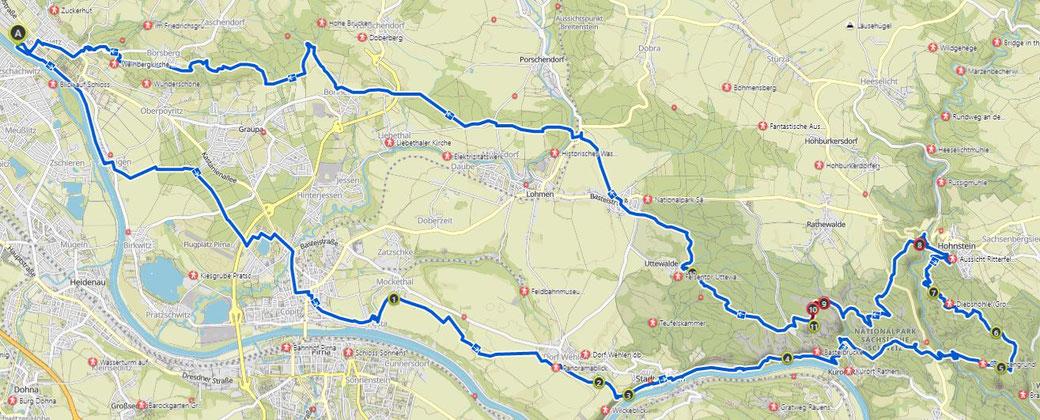 Rundkurs von Dresden 100km. Die offizielle Route wird 2 Wochen vor dem Event bekanntgegeben.
