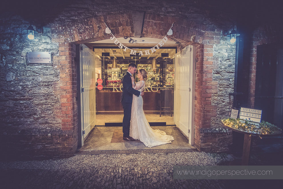 night time portrait of bride and groom at north devon wedding