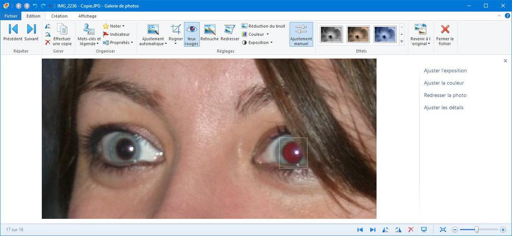 """On sélectionne la zone d'un œil rouge, on choisit la fonction """"Yeux rouges"""", et c'est corrigé"""