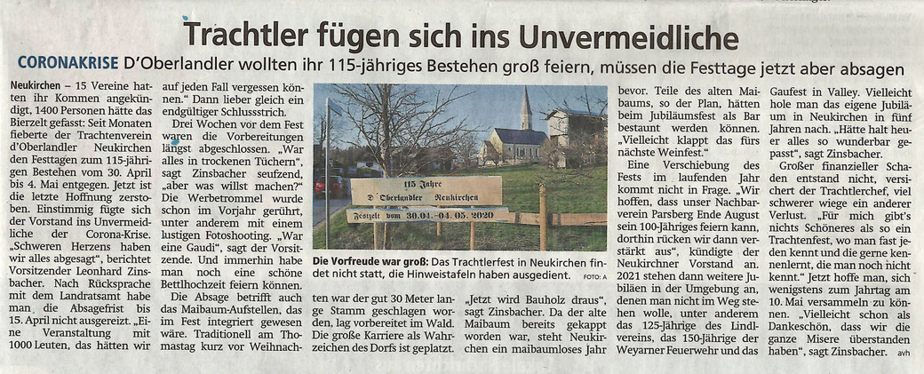 Artikel im Miesbacher Merkur 8. April 2020