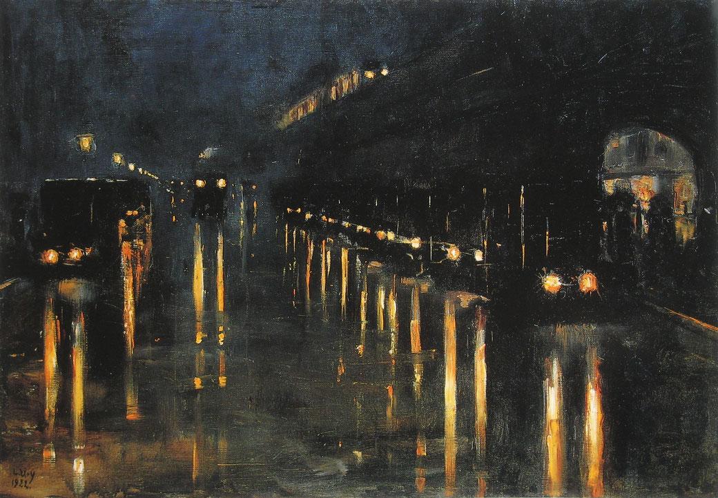 Lesser Ury, 'Hochbahnhof Bülowstraße', 1922. Als gemeinfrei gekennzeichnet, Details auf Wikimedia Commons.