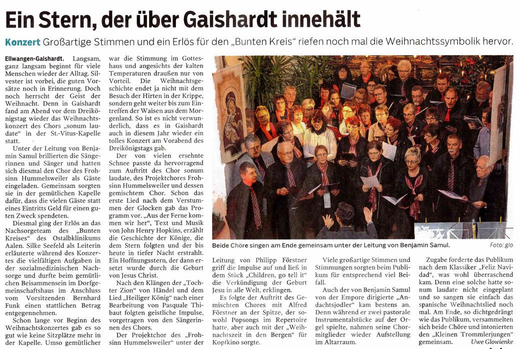 Bericht der Schwäbischen Post vom 7. Januar 2017