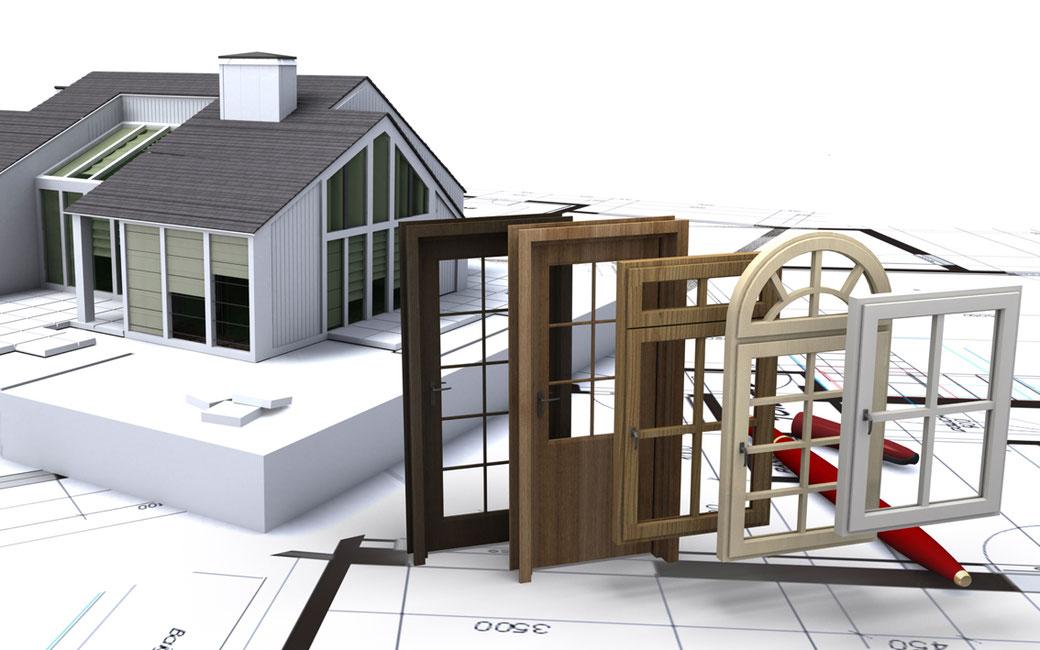 Darstellung eines Hauses mit verschiedenen Tür- und Fenster Modellen.
