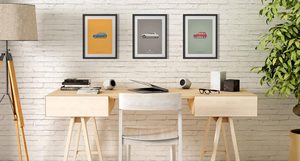 Renault Mercedes Porsche Peugeot poster car poster framed picture illustration graphic ilustracija grafika katrca classic cars