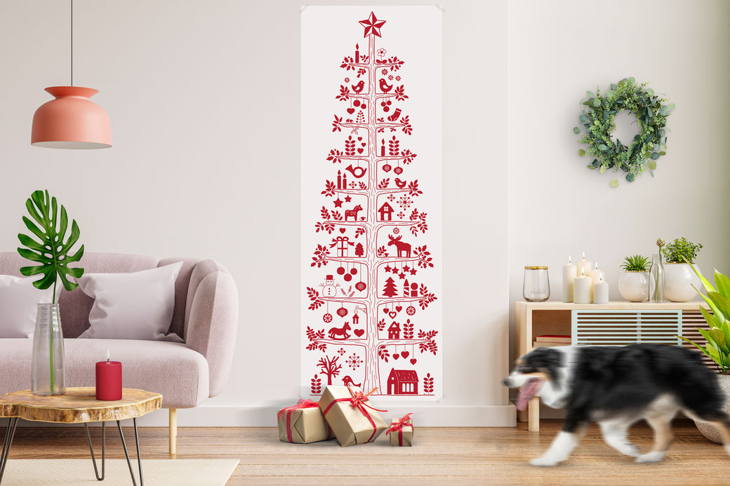 xmas paper tree nordic style scandinavian motives christmas poster weihnachten xmas poster coloring