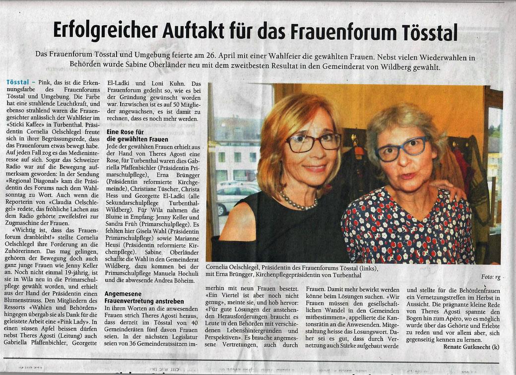 Bericht Der Tössthaler 2. Mai 2018