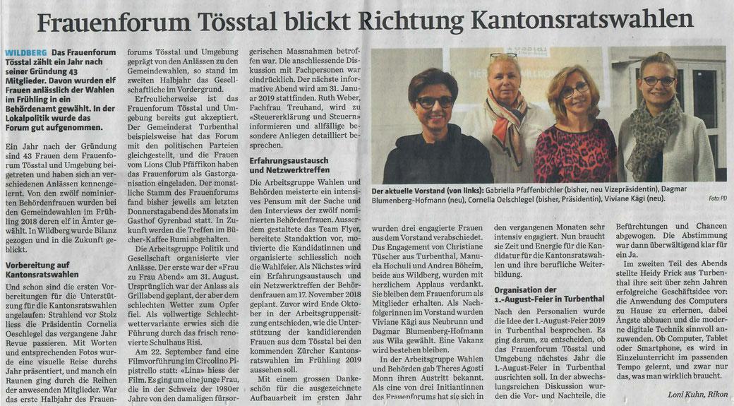 Bericht der Tössthaler vom 16. Oktober 2018