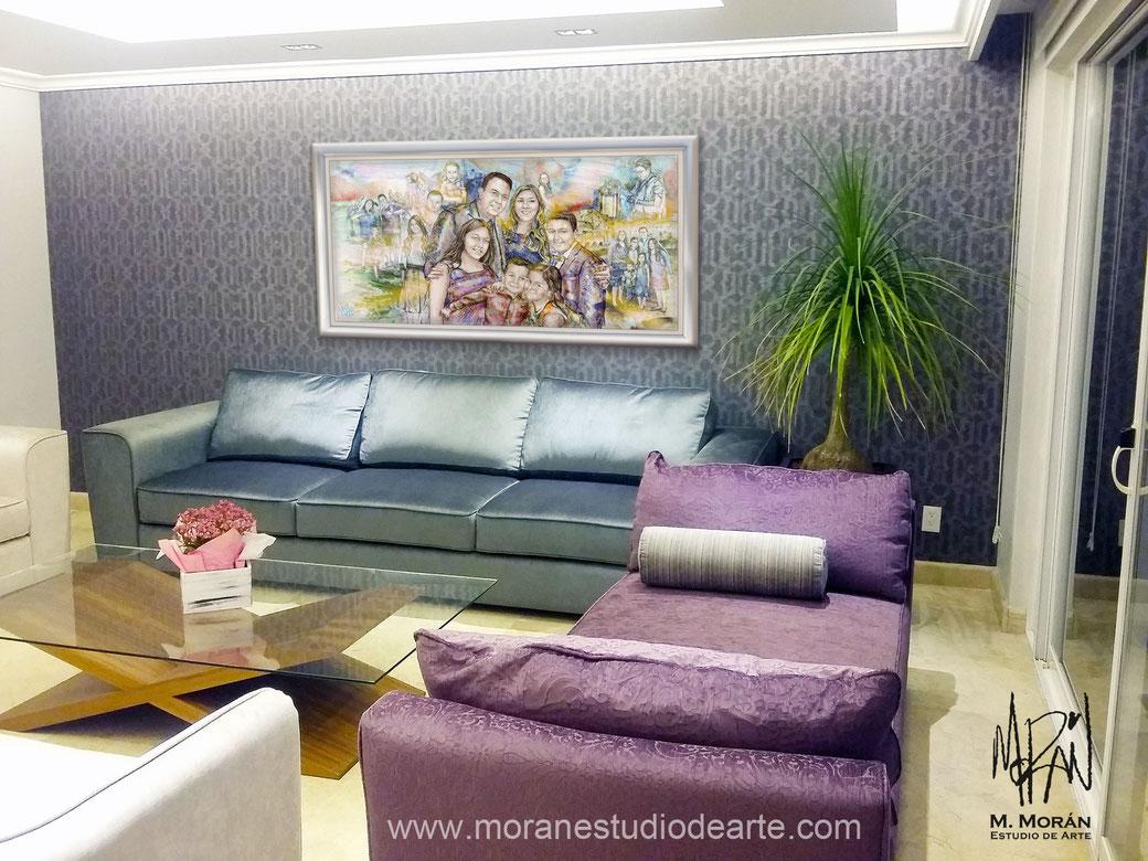 decoracion cuadro sala gris con morado