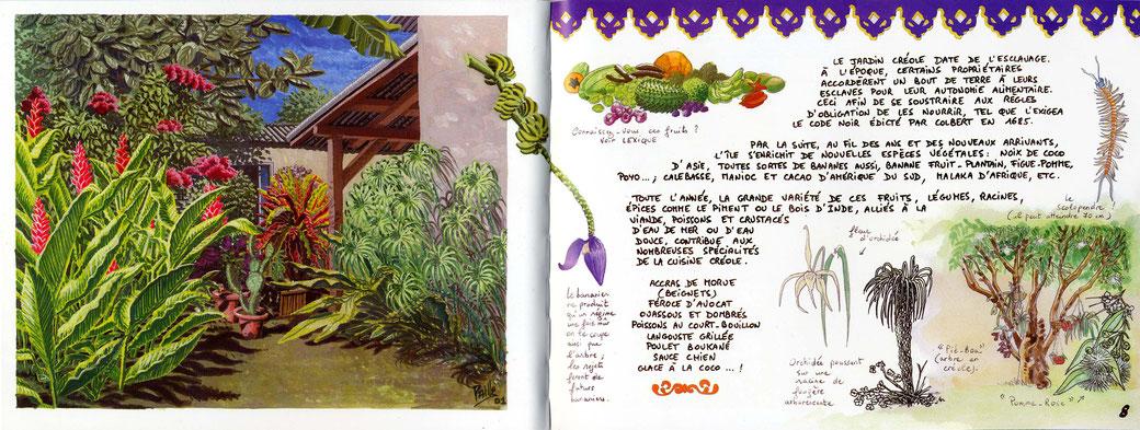 """Le jardin de Colette. Extrait du """"Carnet de Guadeloupe et Dominique""""."""