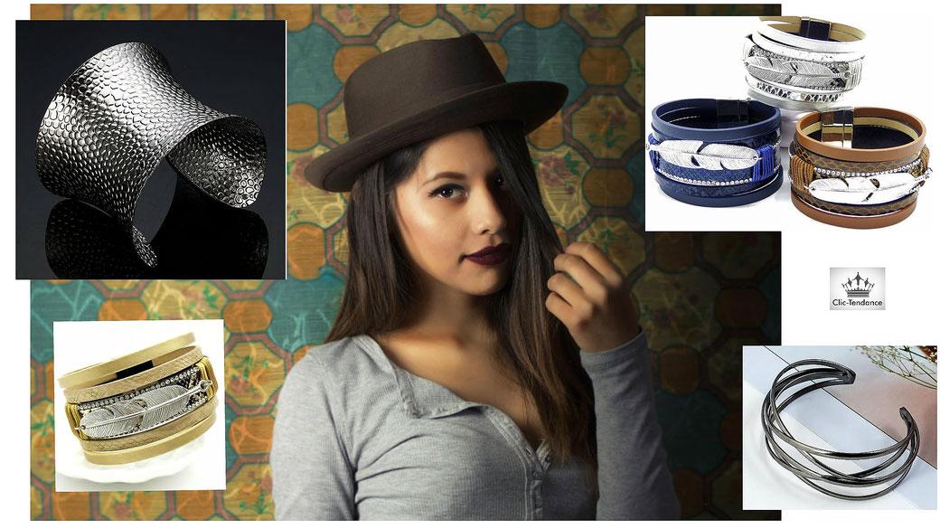 manchette femme bracelet cuir ou metal - mode bijoux fantaisie tendance et pas cher
