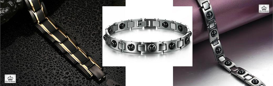 Bracelet magnetique hematite pour homme et gourmette sante en acier inox