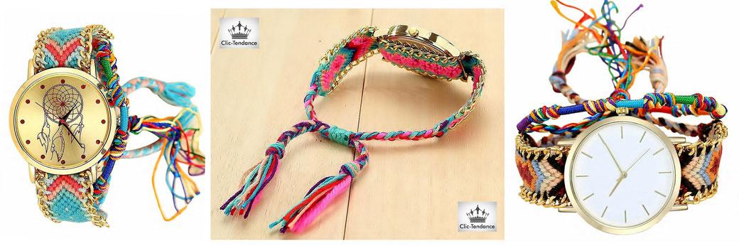 montre bresilienne - la montre femme tendance été pour un look fantaisie et coloré avec son bracelet en tissu tressé