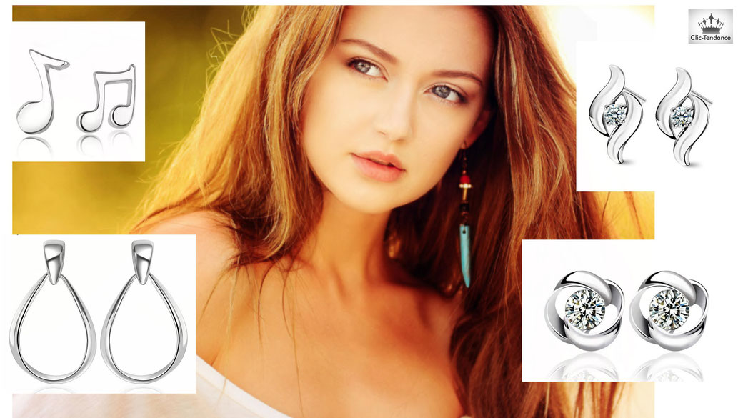 Boucle d'oreille femme luxe bijou argent ou or pas cher