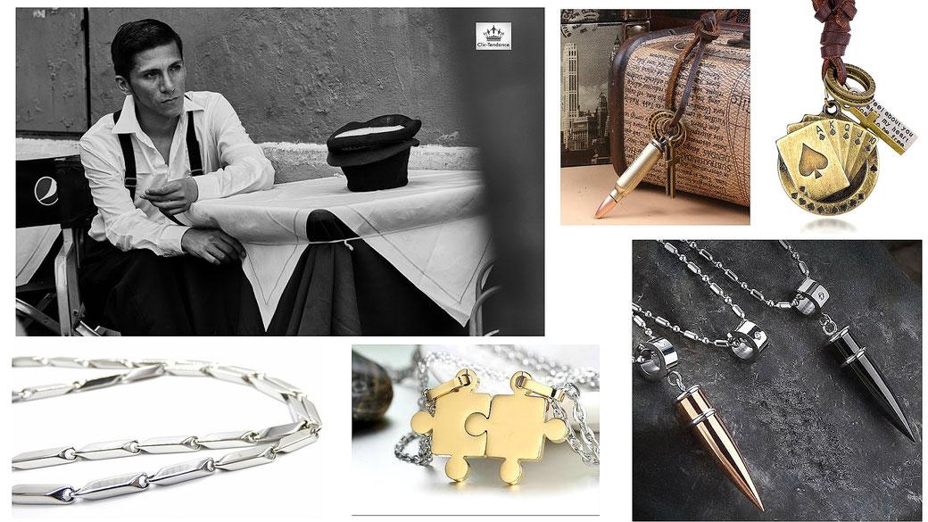Accessoires et bijoux pour homme chaine acier inox 316 collier cuir et plaque militaire