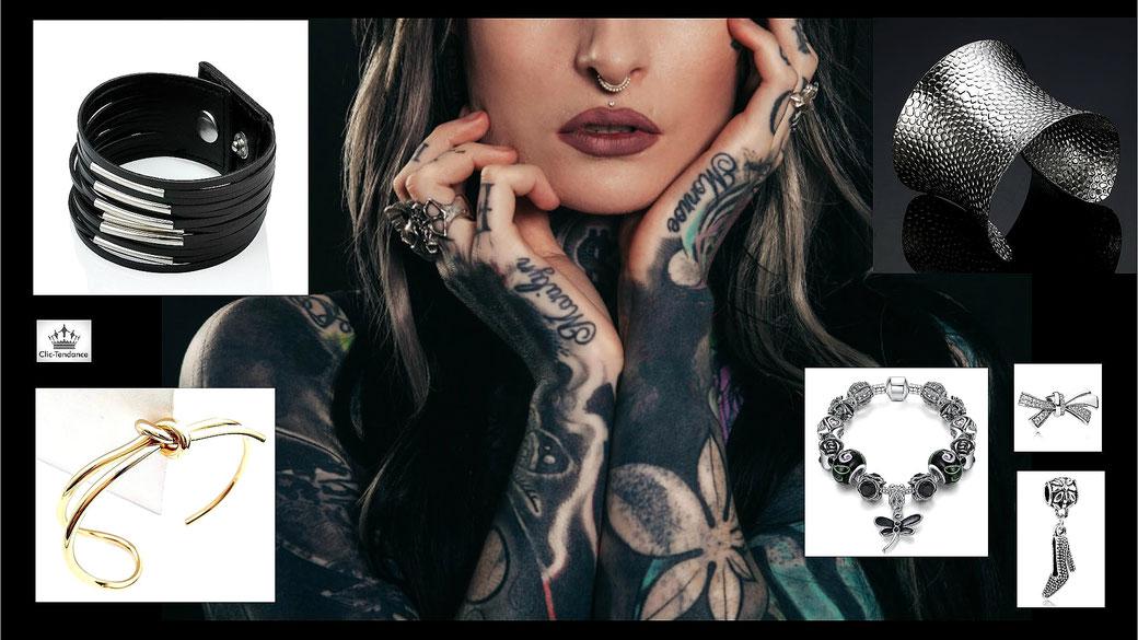 Jonc et Manchette et Bracelet Fnataisie Charms la collection pour poignet féminin