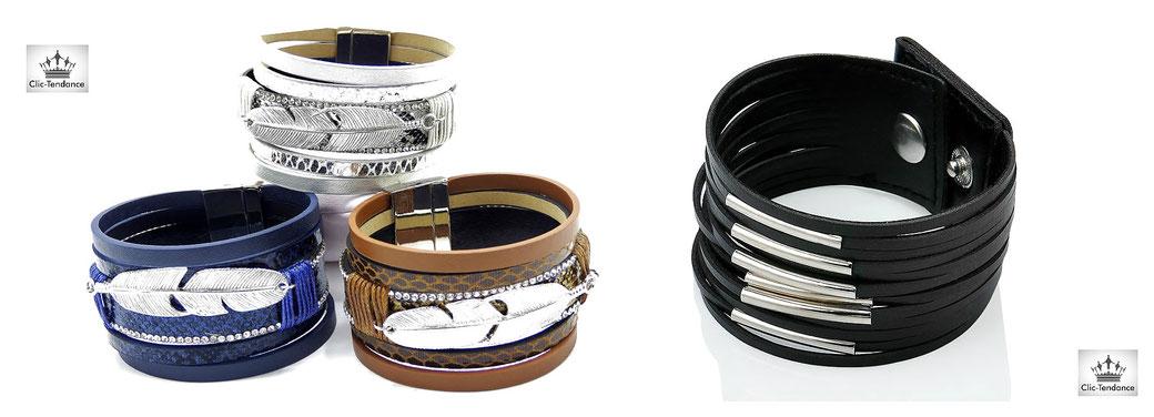 manchette multirangs cuir bracelet fantaisie et tendance pour femme