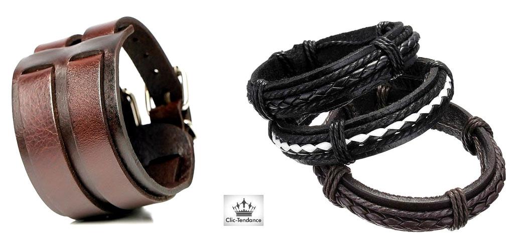 Bracelet Cuir Homme pour un look Punk-Biker- bracelet de Force, et bracelet ancre homme