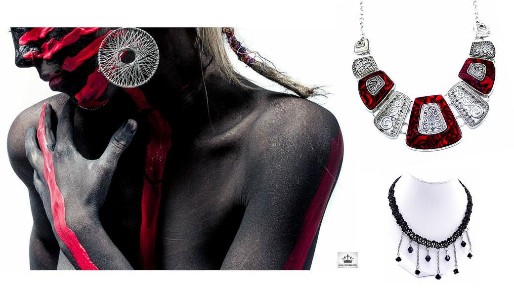 Plastron - chaine-pendentif  un look ethnique style gipsy ou boheme