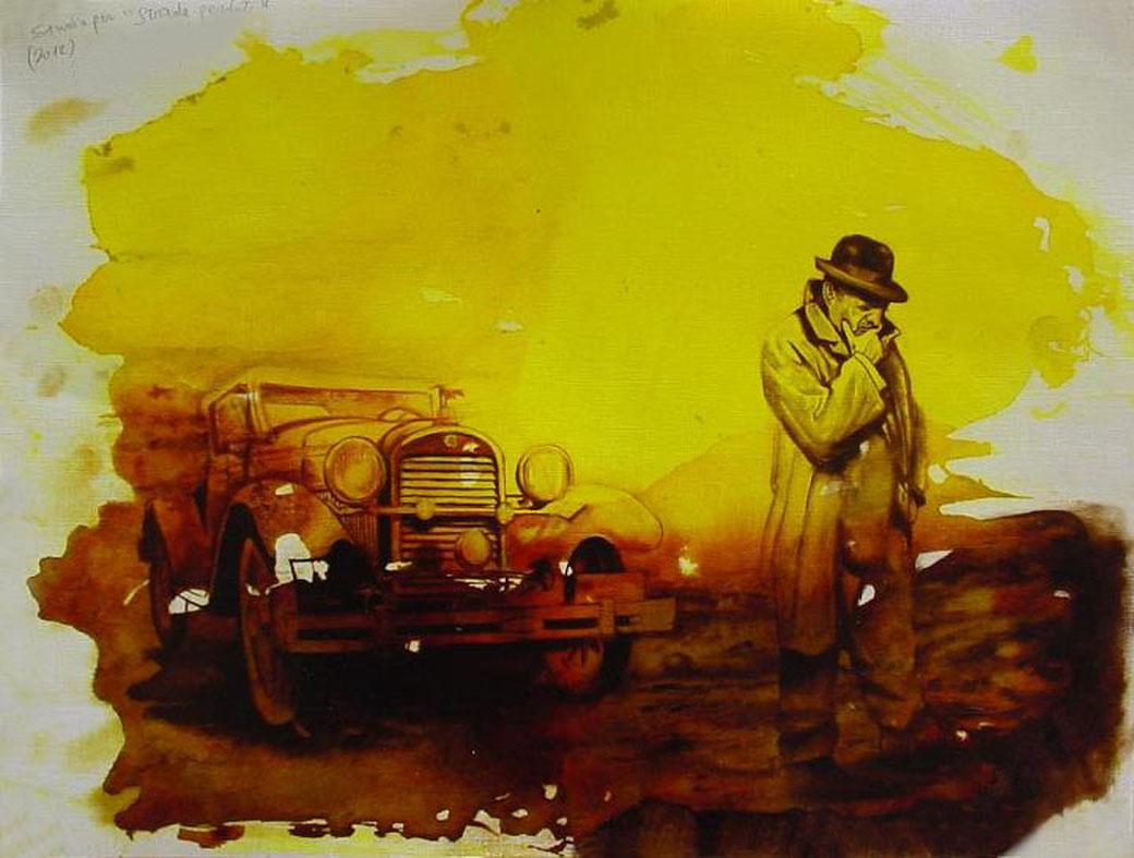 """""""Strade perdute"""" (2012) aniline e  olio su carta telata, cm (40 x 30)"""