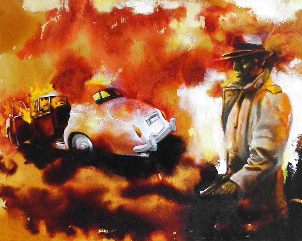 """""""...e poi ti brucio anche la macchina"""" (2012) aniline, olio e acrilico su multistrato, cm (50 x 40)"""