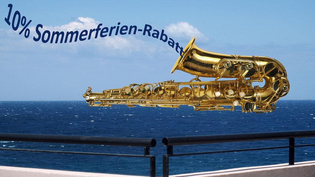 Blasinstrument, Sommerferien, Rabatt, Musikhaus Schmon, Flums, Saxophon