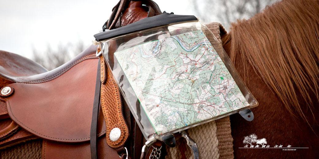 Fischerhof Wanderreiten, Wanderreiten im Naturparkt Nassau, Deutschland und Europa, Wanderreitpferde, Urlaub zu Pferd, Kartentasche Ortlieb