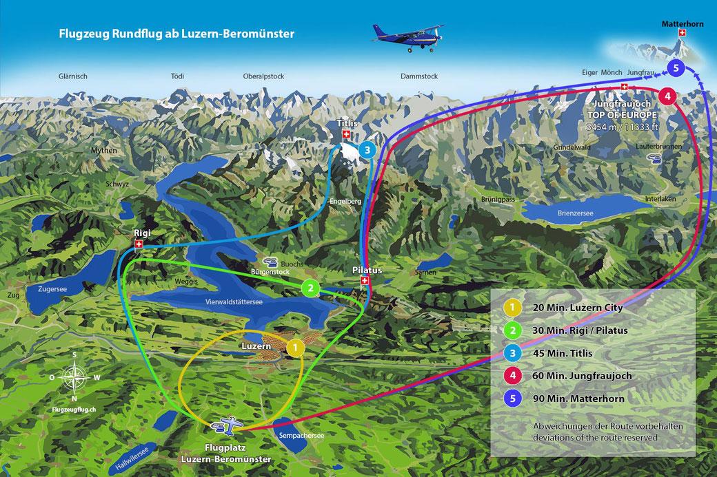 Rundflug Map Luzern
