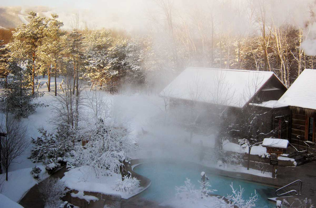 Experience open air Scandinavian Baths in a natural forest environment at Scandianave Spa Blue Mountain with a Winter Spa Getaway at Danby House Bed and Breakfast.