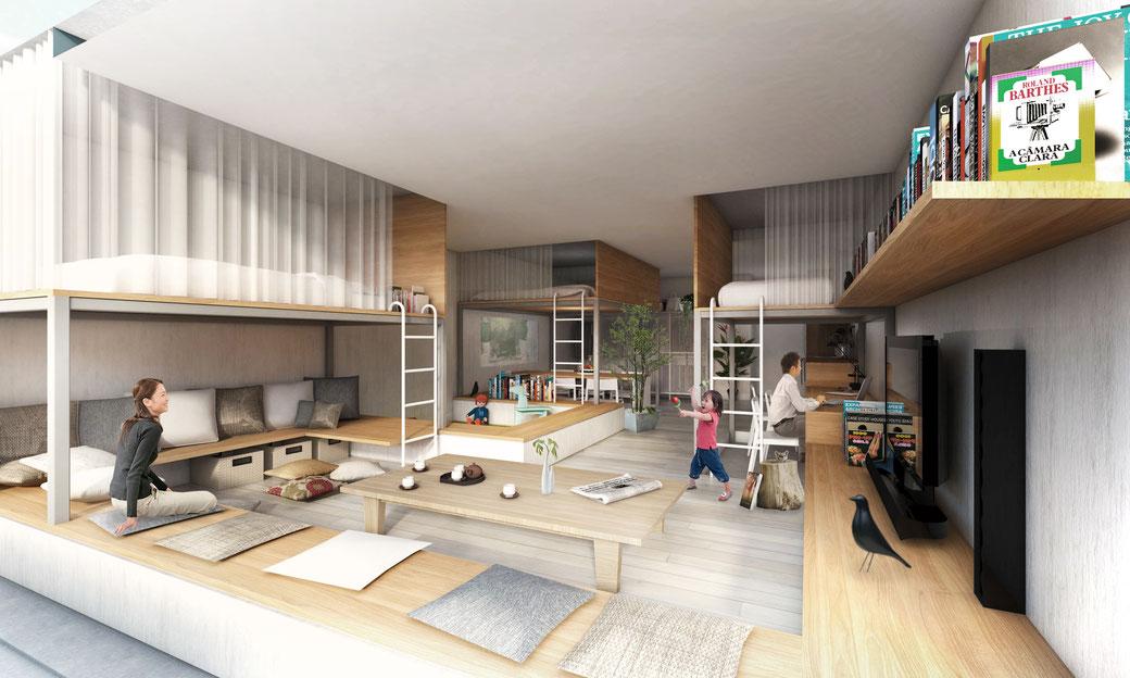 3 bedroom apartment designed as landscape design   Tokyo, Japan