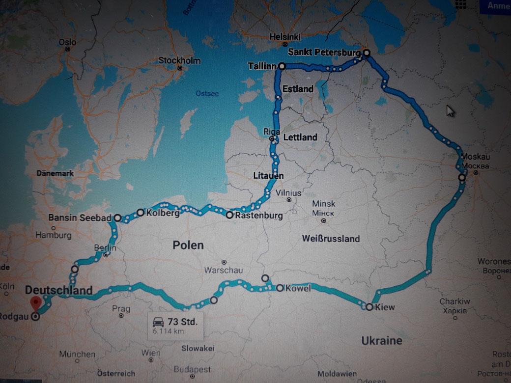 Das ist die ungefähre Strecke die wir zurück gelegt haben! Kilometer gesamt waren 6600!