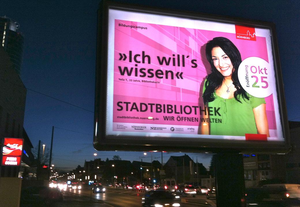 Komplettbelegung der Nürnberger City-Light-Boards.