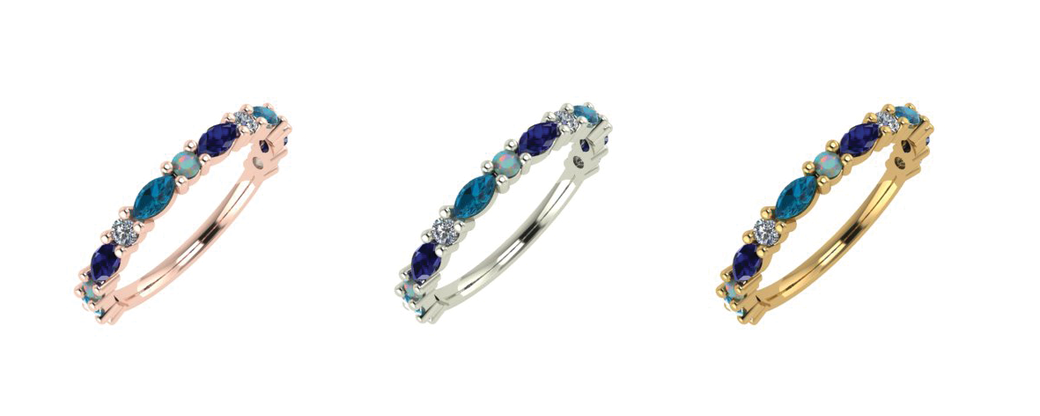 Ocean wedding rings by Emma Hedley Jewellery multicoloured marquise and round diamonds blue sapphire london blue topaz and opal