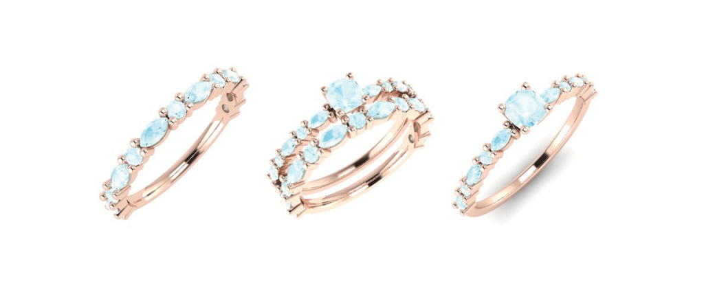 Emma Hedley Jewellery wedding and engagement rings aquamarine rose gold cushion cut with marquise and round shoulders