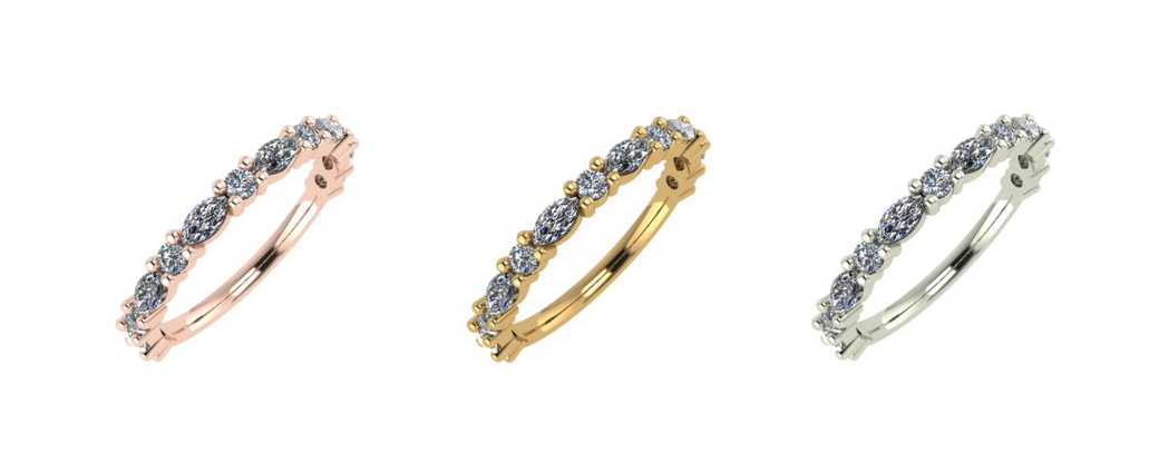Goddess diamond wedding rings by Emma Hedley Jewellery marquise and round cut diamonds 18ct yellow rose and white gold