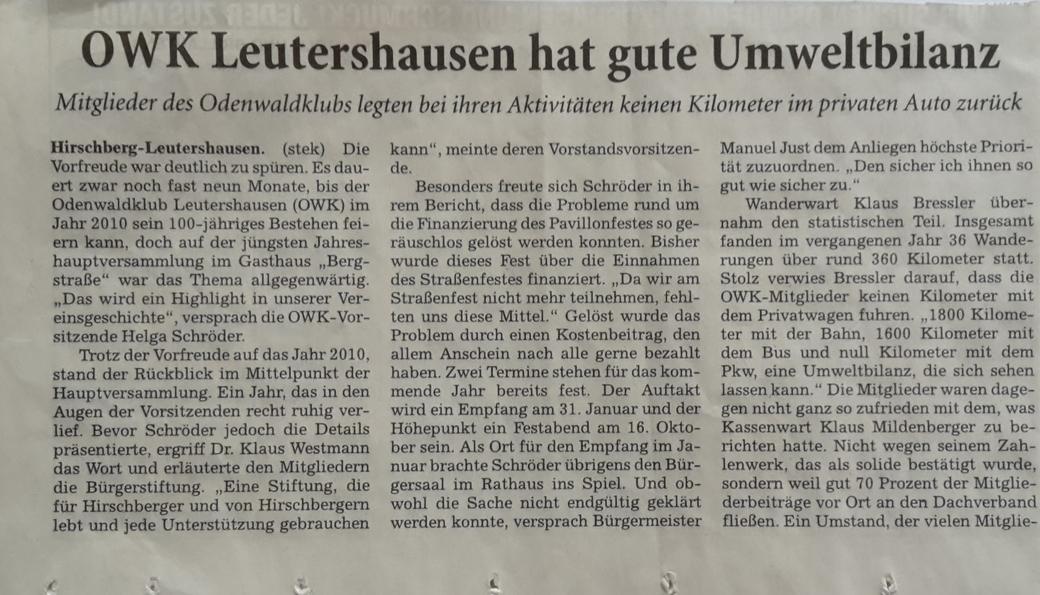 Zeitungsausschnitt Weinheimer Nachrichten... Zum 100. Geburtstag des Odenwaldklubs Leutershausen e.V.