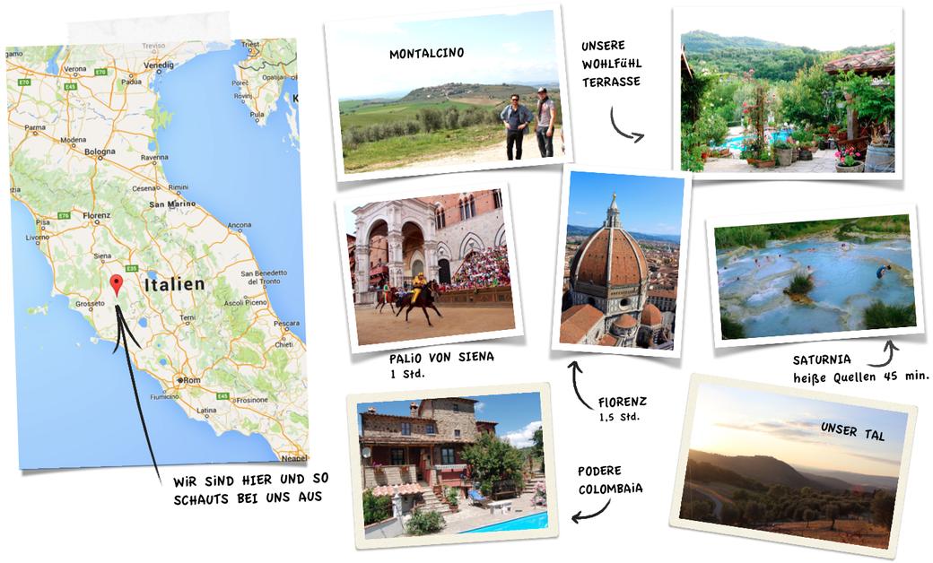 Florenz, Saturnia, Montalcino, Toskana Urlaub, Siena Palio, Zum Ölbaron Ferienwohnung