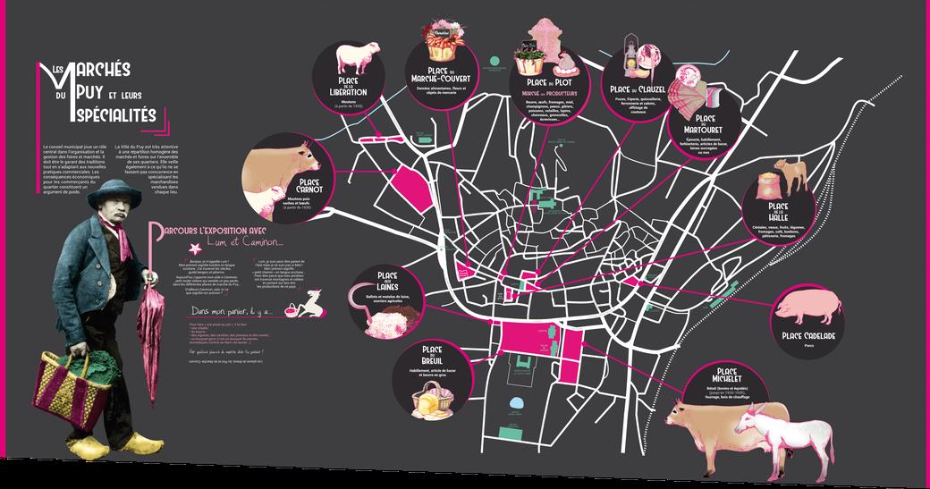 """Carte d'introduction de l'exposition """"Place au marché"""", 450x240 cm"""