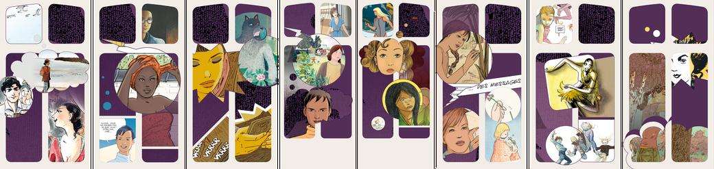 """Ensemble des visuels conçus pour la façade du musée de l'illustration jeunesse dans le cadre de l'exposition """"Elles sortent de leurs bulles"""""""
