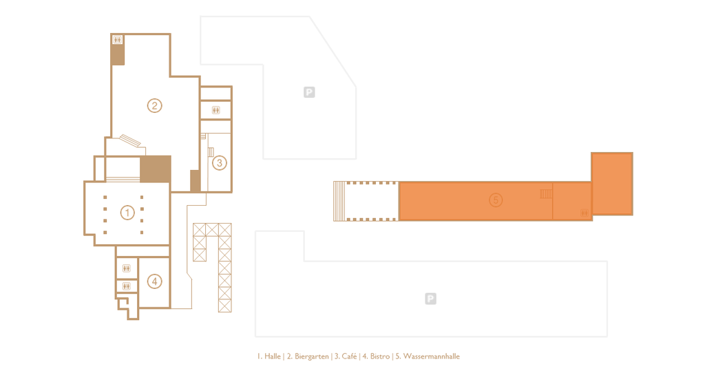 "Floorplan of the eventlocation DIE HALLE TOR 2 with special attention on the ""WASSERMANNhalle"" (orange mark)"