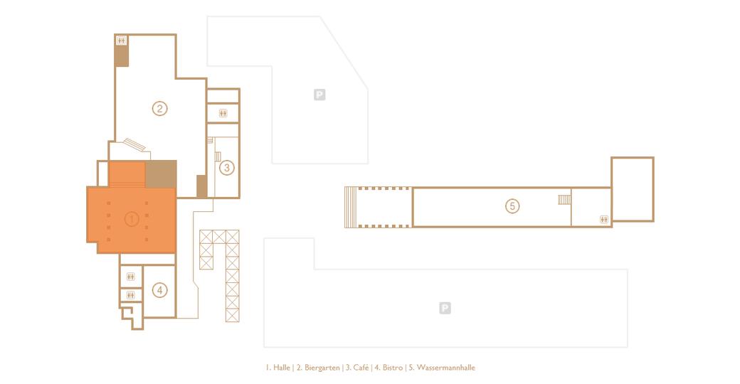 Grundriss der Veranstaltungs- und Eventlocation Halle Tor 2 mit Augenmerk auf der HALLE (Orange markiert)