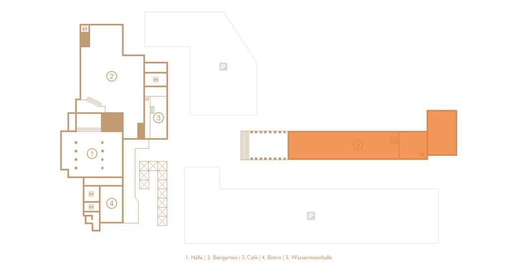 Grundriss der Veranstaltungs- und Eventlocation Halle Tor 2 mit Augenmerk auf der WASSERMANNhalle (Orange markiert)