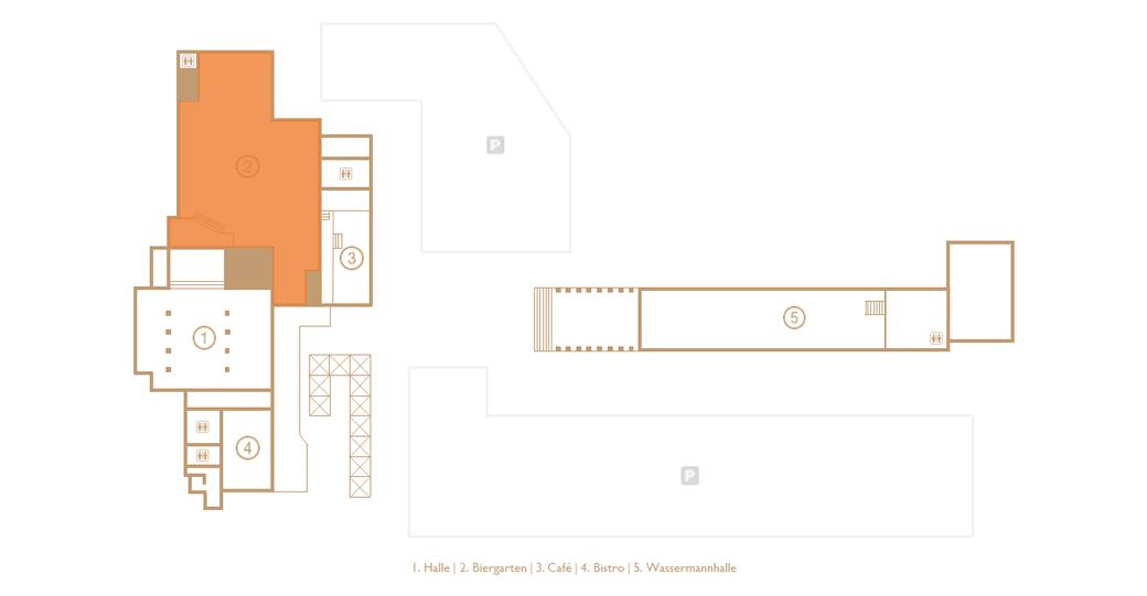 """Floorplan of the eventlocation DIE HALLE TOR 2 with special attention on the """"Biergarten"""" (orange mark)"""